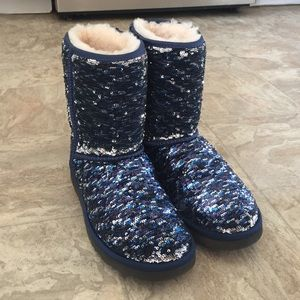 UGG blue and silver sequence boots sz 7 brand new